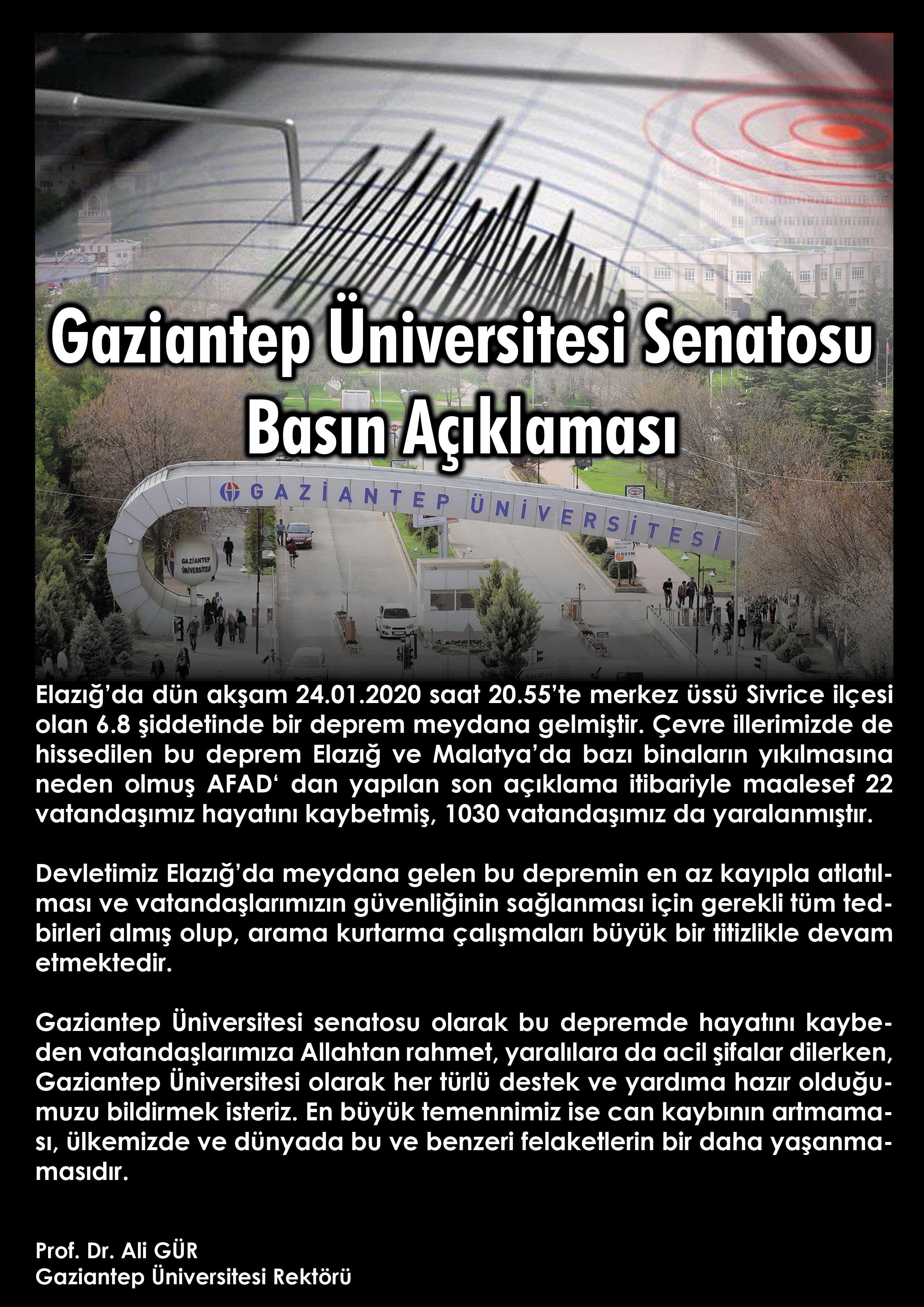 Gaziantep Üniversitesi Senatosu Basın Açıklaması